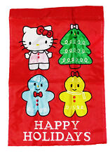 """HELLO KITTY HAPPY HOLIDAYS MINI FLAG~SIZE 12""""x18"""" ~TREE AND GINGERBREAD~APPLIQUE"""