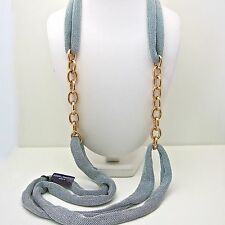 Adami and Martucci Silver Mesh Long Necklace with Rose Gold Links
