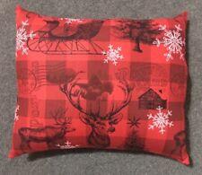 "Beautiful Handmade Red Plaid Christmas Deer Accent - Throw Pillow  10"" x 9"""