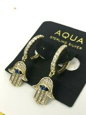 Aqua Sterling Silver Gold Plated Hamsa Earrings with CZ