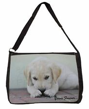 Yellow Lab Pup 'Yours Forever' Large Black Laptop Shoulder Bag School, AD-LP1ySB