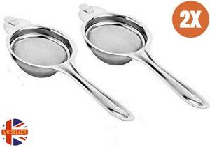 2x Tea Strainer 7.5cm Metal Stainless Steel Sieve Mesh Kitchen Loose Leaf Filter