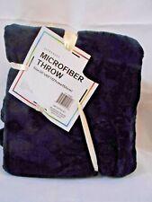 INDIGO INKY BLUE MICROFIBER FLEECE THROW Blanket 50 x 60 ULTRA SOFT PLUSH