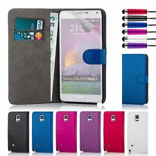 Book Wallet Case Cover Samsung Galaxy Note Models + Screen Protector & Stylus