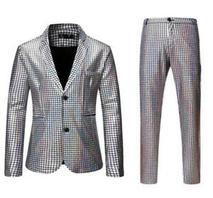 Men's Glitter Lapel Two Buttons 2Pcs Blazer Pants Suits Club Costume Plaid Coat