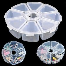 Beads Empty Storage Box 8 Grids Jewelry Container Nail Art Rhinestones Case