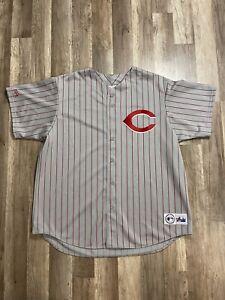 Vintage Cincinnati Reds MLB Pinstripe Majestic Gray Red Alternate Jersey 2XL