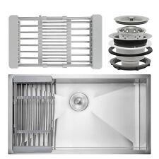 """30"""" x 18"""" x 9"""" Under Mount Handmade Stainless Steel Single Bowl Kitchen Sink"""
