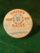 ANTIQUE ~ 1914 ~ SMITH'S Rose Bud SALVE Tin ~ Woodsboro, MD ~ ROSEBUD Perfume Co