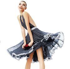 New $1,495 Dolce Gabbana D&G Nautical Navy Anchor Star Silk Dress US 2 4 / IT 40