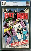 BATMAN 251 CGC 7.5 WHITE PAGES NEAL ADAMS RETURN OF VIOLENT JOKER 1973 KEY COVER
