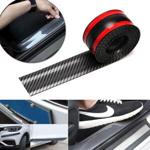 "98"" Carbon Fiber Car Door Sill Scuff Step Plate Panel Bumper Protector Strip Kit"