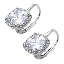 Cushion Cut Clear and Cubic Zirconia .925 Sterling Silver Earring