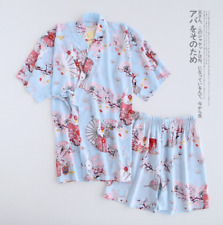 Chinese Japanese Rabbits Cherry Blossom Shorts Ladies Kimono Pyjamas ladpj253