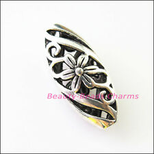 6Pcs Tibetan Silver Oval Flower Spacer Beads Charms 10x23mm