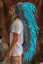 INDIAN HEADDRESS TURQUOISE FEATHERS Chief War bonnet Costume Native American