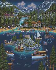 DOWDLE FOLK ART COLLECTORS JIGSAW PUZZLE LAKE TAHOE SIERRA NEVADA BOATING #10177