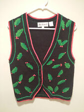 Vintage Ugly Christmas Sweater Tacky - Small S Black Bechamel Boughs Of Holly!