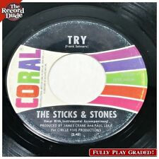 """STICKS AND STONES """"Try"""" CORAL scarce black label! psych garage HEAR ALL! 45"""