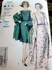 LOVELY VTG 1960s DRESS & STOLE VOGUE Sewing Pattern 12/32