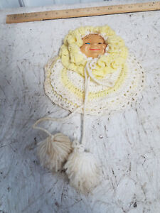 Vintage Potholder Kitchen Decor Doll Face Crochet Hot Pads