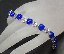 Gold Plate Blue JADE Circle Leaf Bead Bangle Bracelet Diamond Imitation 322822