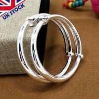 UK Adjustable 925 Sterling Silver Bangle Bracelet Charms Women Girl Jewelry Gift