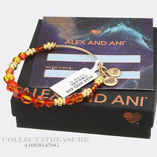 Authentic Alex and Ani FIRE Beaded Swarovski Crystal Shiny Gold Bangle