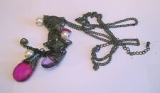 Lovely dark tone metal chain necklace various heart beads and charms 80 - 86 cm