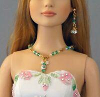 "Green Crystal Bi-cone Necklace Earrings Jewelry 16"" & 22"" Fashion Dolls Tonner"