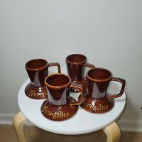 Set of 4 Vintage FRANGELICO Wide Bottom No Spill Travel Ceramic Coffee Mug Cup