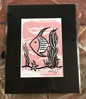 Tropical MidCentury Modern Fish Art Print Tiki  Schroederville Retro Pink 1950s