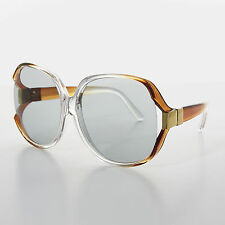 Oversized Huge Brown Jackie O Vintage Sunglasses Transition Lens   - PHYLISS