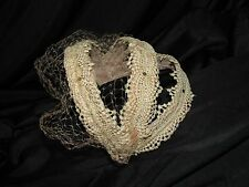 Vtg Womens Hat PINK Lace Bridal Veil Headband Wedding Art Deco 1920s 30s 40s