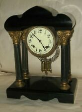 RARE ANTIQUE NEW HAVEN FANCY PORTICO EBONIZED IRON 8 DAY CHIME CLOCK WORKING