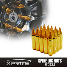 GOLD - Spike Tuner Extended Lug Nuts for Wheels Rims M12X1.5 60mm Aluminum 20PCS