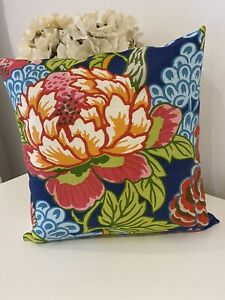"Thibaut Blue Honshu Bright Floral Bold Cushion Cover 16"" X 16"" Designer"