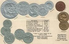 VINTAGE YUGOSLAVIA EMBOSSED GOLD SILVER & COPPER COINS POSTCARD - UNUSED