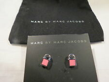 Marc by Marc Jacobs Enamel Padlock Stud Earrings Pink Gold $42 Authentic New NWT