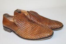 Black Saks Fifth Avenue leather Wolven brown mens 8.5 made in Italy