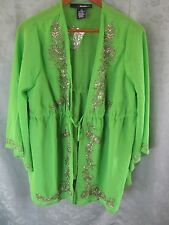 Denim & Co NWOT Lime Green Over Blouse Plus Size 12W Sheer Dressy Beaded Top