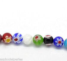 10 perles rondes 8 mm en verre de Millefiori multicolore