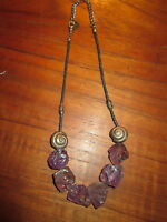 Amethyst  Rough Rock Handmade  Stainless Steel  Necklace