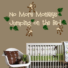 No More Monkeys Jumping on the Bed Wall Decal Vinyl Wall Nursery Room Decor