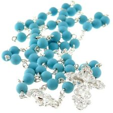 Turquoise & Sterling Silver Rosary Beads with Ornate Crucifix and Gift Box