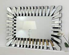 "Zip Silver Modern Rectangle Facet Wall Mirror 32"" x 24"" Large"