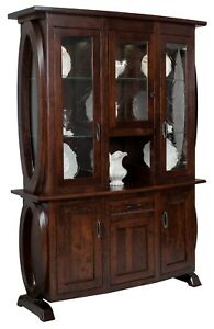 """Amish Modern Hutch China Cabinet 3-Door Geometric Round Glass Solid Wood 60"""""""