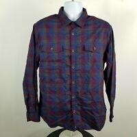 Carbon2Cobalt Mens Blue Red Gingham Check Dress Button Shirt Sz Large L