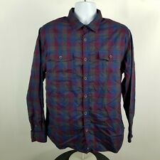 Carbon2Cobalt Mens Blue Red Gingham Check Dress Button Shirt Sz Large L