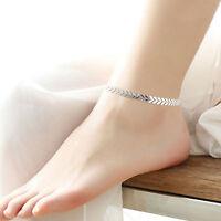 tobillera pulsera pie joyas  tobillo cadena mujer sandalia color plata